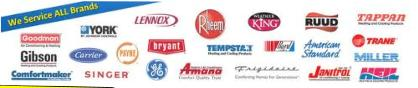 Brands of air conditioners serviced